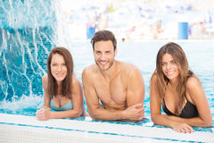 Happy man between two women Royalty Free Stock Photo