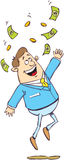 Happy man under money rai. Cartoon illustration of a happy man jump under rain of cash Royalty Free Stock Photos
