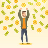 Happy man under money rain. Excited man enjoying a rain of money. Vector flat design illustration in the circle isolated on background Royalty Free Stock Images