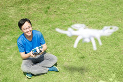 Happy man use drones Stock Photos