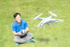 Happy man use drones Royalty Free Stock Image