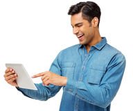 Happy Man Using Digital Tablet Royalty Free Stock Image