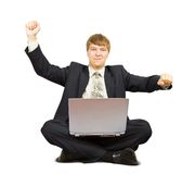 Happy  man using a laptop Royalty Free Stock Image