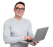 Happy man using laptop on white background Royalty Free Stock Photos