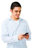 Happy Man Using Mobile Phone Stock Photo