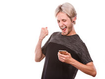 Happy man using mobile phone read message Stock Photo