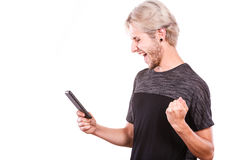 Happy man using mobile phone read message Royalty Free Stock Photo