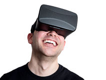 Happy man using virtual reality glasses isolated on white backgr Royalty Free Stock Photo