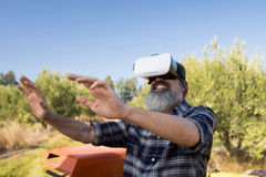 Happy man using virtual reality headset in tractor. Happy man using virtual reality headset in olive farm on a sunny day Royalty Free Stock Photo