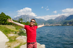 Happy man on vacation Stock Photos