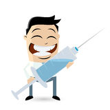 Happy man with vaccine injection Royalty Free Stock Photos
