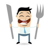 Happy man is waiting for food Royalty Free Stock Photos