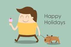 Happy man walking a dog Stock Photography
