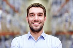Happy man at warehouse Stock Images