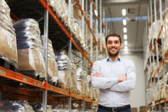 Happy man at warehouse Stock Photos