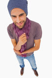 Happy man wearing beanie hat and scarf Royalty Free Stock Photo