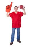 Happy Man Wearing Foam Finger Stock Images