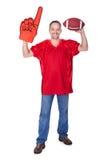 Happy Man Wearing Foam Finger stock images
