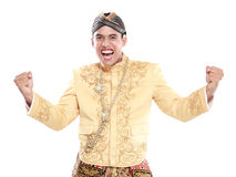 Happy of man wearing traditional of java Stock Photo