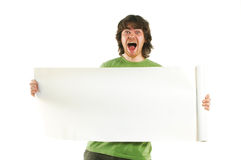 Happy man with white poster stock image