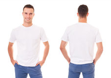Happy man in white t-shirt. On white background Stock Photography