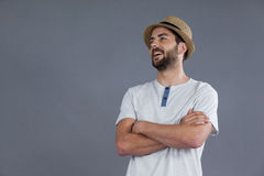 Happy man in white t-shirt and fedora hat Royalty Free Stock Image