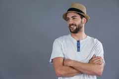 Happy man in white t-shirt and fedora hat Royalty Free Stock Photo