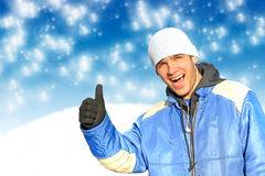 Happy man in winter Royalty Free Stock Photography
