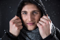Happy man in winter cloth with snow Royalty Free Stock Images