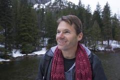 Happy man in winter wonderland Royalty Free Stock Photography