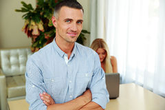 Happy man with woman on background Royalty Free Stock Photo