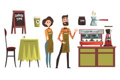 Happy man and woman barista wearing plaid shirts. Set with design elements of coffee shop equipment table, chair, cups. Happy man and woman barista wearing plaid royalty free illustration