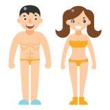 Happy man woman beach dress nude characters  flat design vector illustration Stock Photos