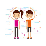 Happy man and woman in casual clothing waving hi image. Vector illustration design Royalty Free Stock Photos