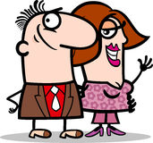 Happy man and woman couple cartoon Royalty Free Stock Photography