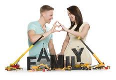 Happy man and woman establishing a family. Royalty Free Stock Image