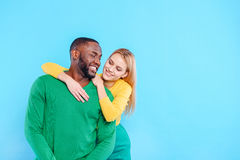 Happy man and woman hugging Royalty Free Stock Photography