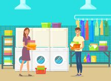 Happy man and woman inside laundry room. Doing cloth washing. Self-service laundry with washing machines, drying chambers and chemical products. Laundromat for stock illustration