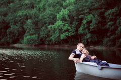 Happy man and woman on nature Royalty Free Stock Photos