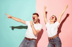 Happy man and woman at red nose day. royalty free stock photo