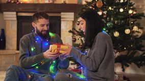 Happy man and woman sitting christmas year tree with a garland around the neck close up. Man gives present to woman, she. Man and woman sitting near new year stock video footage