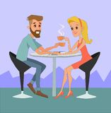 Happy man and woman sitting at the table with coffee in restaurant. Friends, colleagues, business meeting concept illustration Stock Image