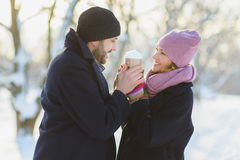 Happy man and woman. Young Couple On Winter Vacation Royalty Free Stock Photos