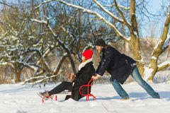 Happy man and woman. Young Couple On Winter Vacation Stock Photography