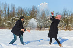 Happy man and woman. Young Couple On Winter Vacation Royalty Free Stock Images