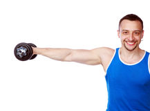 Happy man working out with dumbbells. On white background Royalty Free Stock Photos