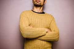 Happy man in yellow jumper Royalty Free Stock Images