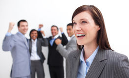 Happy Manager celebrating a success Stock Image