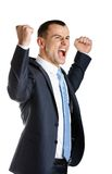 Happy manager with fists up Stock Photography