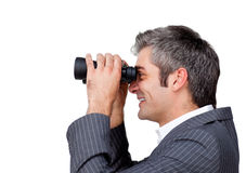 Happy manager looking through binoculars Royalty Free Stock Photos
